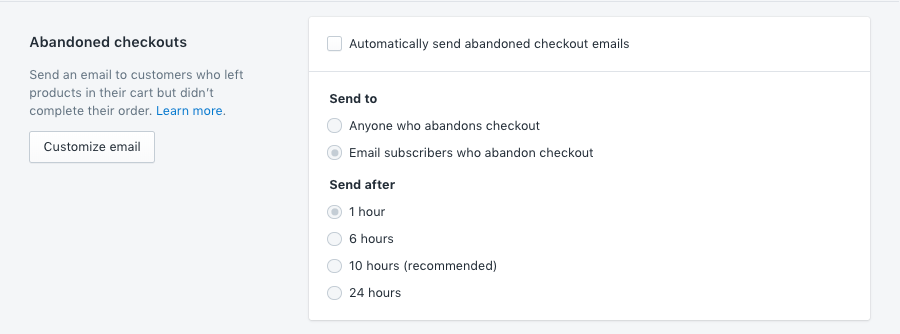 Abandoned checkout options