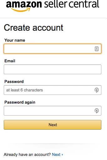 创建Amazon卖家账户截图