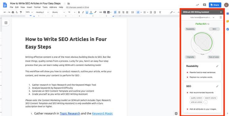 编写SEO文章步骤4:使用SEO写作助手评分